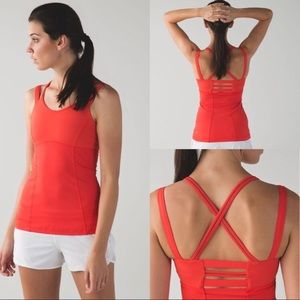 Lululemon Happy Strappy Red Athletic Tank Top